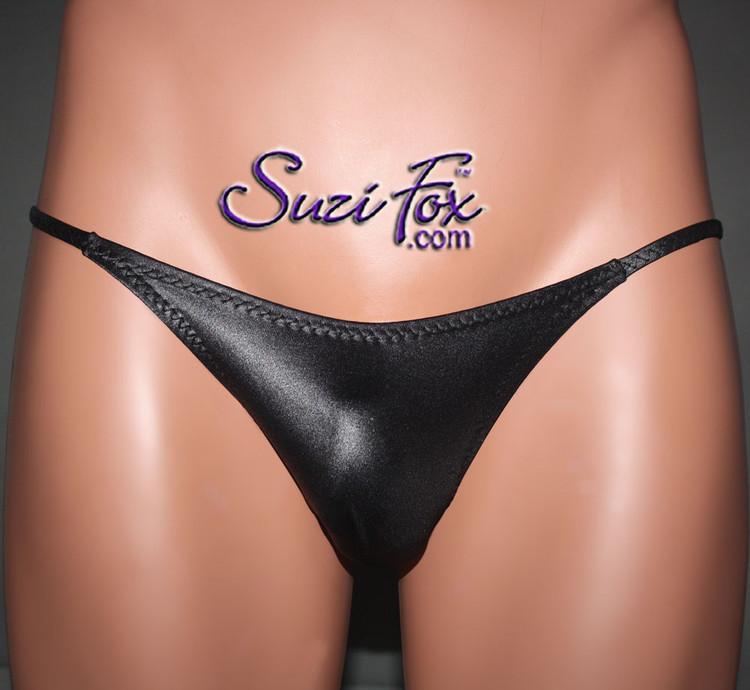 Men's Smooth Front, G-String thong - shown in Black Wetlook Lycra Spandex, custom made by Suzi Fox. • Standard front height is 5 inches (12.7 cm) tall. • Available in 3, 4, 5, 6, 7, 8, 9, and 10 inch front heights. • Wear it as swimwear OR underwear! • You can choose any fabric on this site, including vinyl/PVC, Metallic Foil, Metallic Mystique, Wetlook Lycra Spandex, Milliskin Tricot Spandex. The vinyl/PVC is a latex alternative, great for people allergic to latex! • Worldwide shipping. • Made in the U.S.A. We custom make every garment when you order it (including standard sizes).