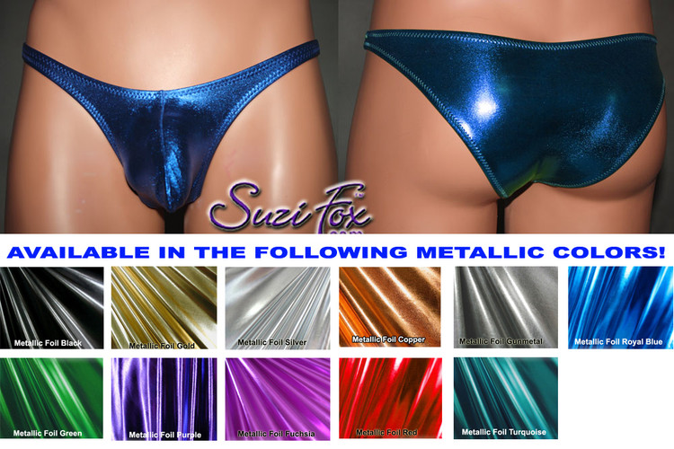 Mens Pouch Front, Wide Strap, Rio Bikini - shown in Royal Blue Metallic Foil Spandex, custom made by Suzi Fox. • Available in gold, silver, copper, gunmetal, turquoise, Royal blue, red, green, purple, fuchsia, black faux leather/rubber Metallic Foil or any fabric on this site. • Standard front height is 7 inches (17.8 cm). • Available in 4, 5, 6, 7, 8, 9, and 10 inch front heights. • Wear it as swimwear OR underwear! • Made in the U.S.A.