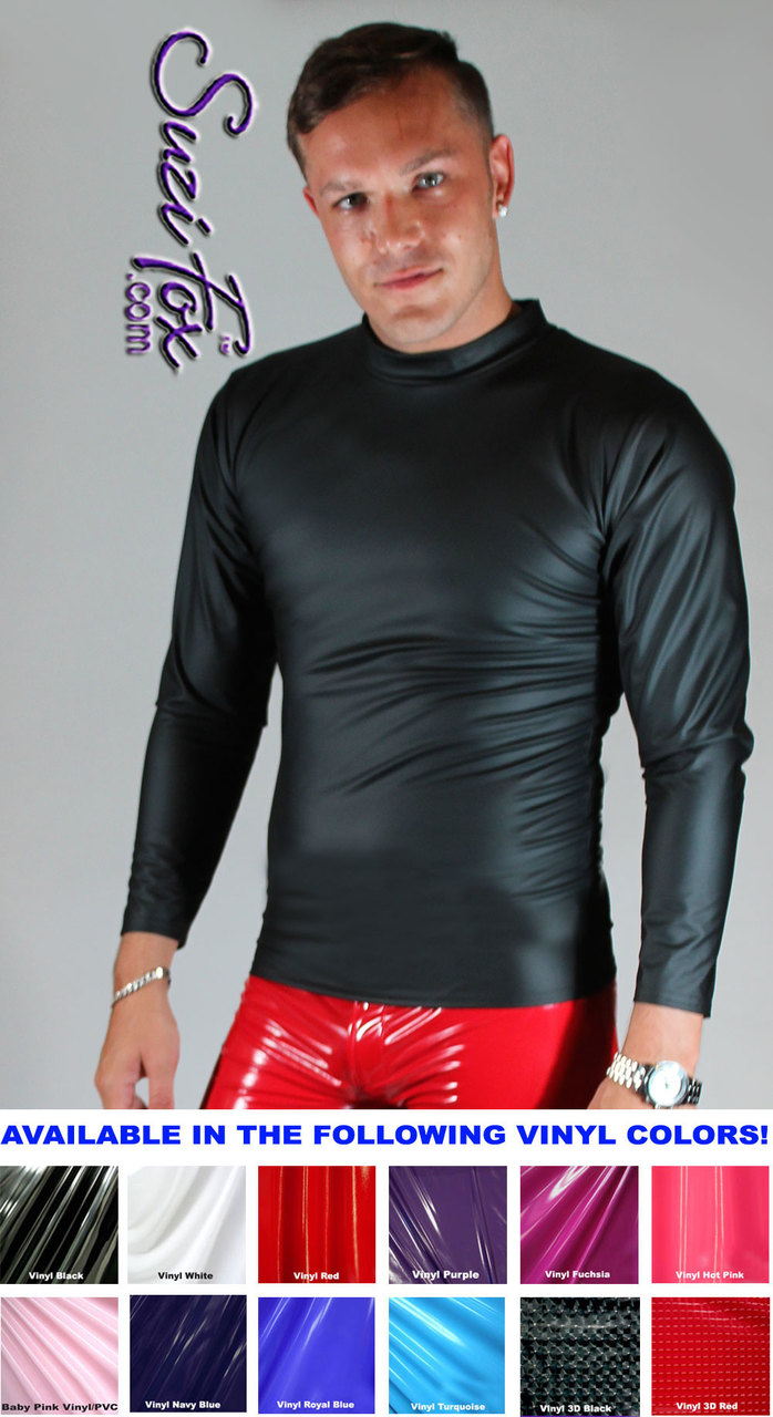 Mens Long Sleeve Shirt Shown In Black Matte No Shine Vinylpvc