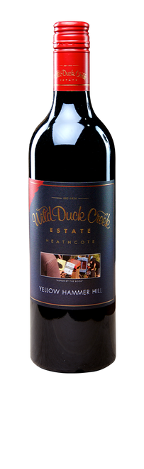 Wild Duck Creek Yellow Hammer Hill 2017   Originally just a Shiraz / Malbec blend, we added Cabernet Sauvignon to this wine to give greater textural diversity. The grapes are sourced from the same vineyards every year, fully and gently de-stemmed, hand plunged and basket pressed. The wine is then matured for up to 23 months in older French and American oak barriques, hogsheads, and large format vats, as well as some concrete vats for added complexity. Yellow Hammer Hill is a wonderful all round red wine to be enjoyed with almost any occasion.  Current Release Tasting Notes (82% Shiraz, 12% Malbec and 6% Cabernet Sauvignon) – Purple colour. Bolder and fuller than the 2015, and giving plush primary red and black fruits. Think raspberries, blackberries and red apple. The palate is silky and supple with a delicious berry and redskin flavour, rolling into chewy tannins and milk chocolate hints with a long palate coating finish. An absolute cracker! Cellar up to 10 years. 14.8% Alc.