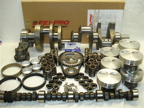SBC 383 Stroker Engine Package (375 HP) World Products Iron Cylinder Heads '57-'85 2pc Rear Main Seal Block (Hydraulic Flat Tappet Cam)