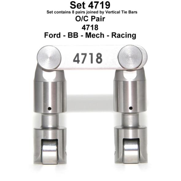 "Morel 4719 / Erson RL957 Big Block Ford Solid Roller Lifters, .875"" Body Dia.,  .750"" Roller Dia., Vertical Tie-bar"