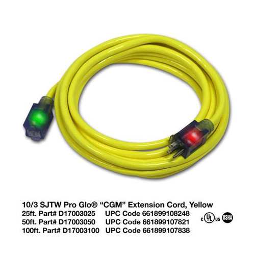 Power Cord 50 ft- 10/3 (Yellow)
