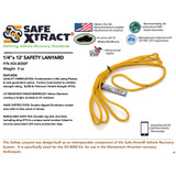 "SX-8000F Safety Lanyard (1/4"" x 12') (8,000 lb MTS)"