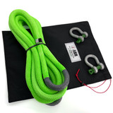 """1"""" Ultimate Kinetic Recovery Rope w two 3/4"""" Green Pin Shackles"""