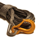 """Gray 1/4"""" Synthetic Winch Rope, with HD Excel Sling Hook"""