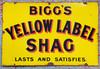 """VT 2380. ENAMEL ADVERTISING SIGN"""" BIGGS YELLOW LABEL SHAG"""""""