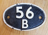 VT 3612. CAST IRON SHED CODE PLATE  56 B ARDSLEY.