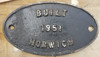 VT 3675. L.M.S. CAST IRON  LOCOMOTIVE WORKS PLATE HORWICH DATED 1951.