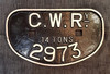 """VT 2822.  G.W.R. CAST IRON """"D"""" WAGON PLATE FROM 14 TON WAGON."""