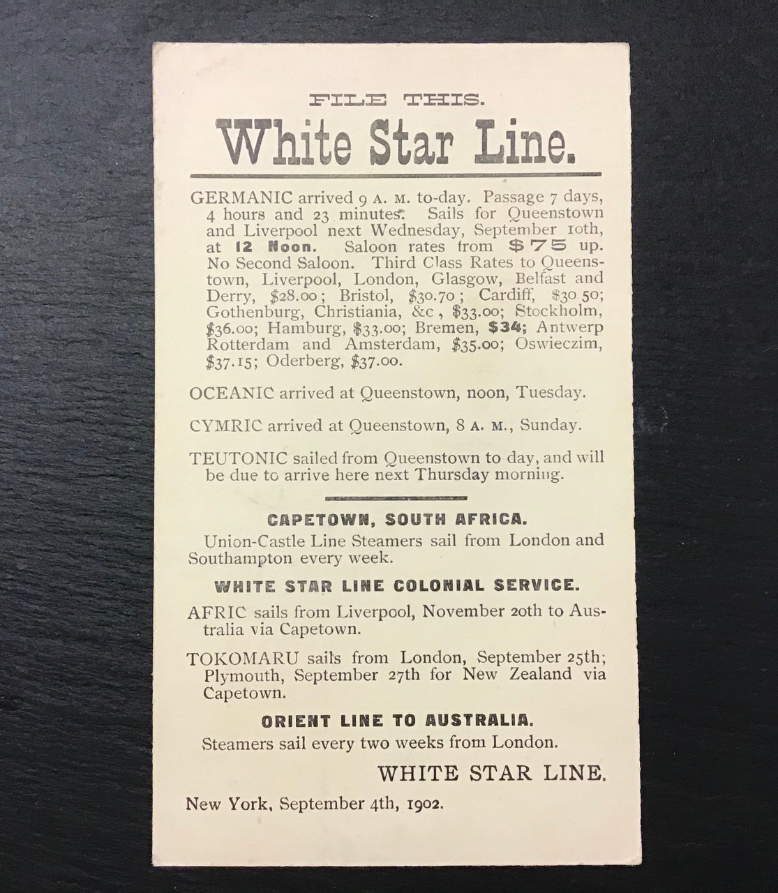 GD 1284 WHITE STAR LINE AGENTS NOTE CARD