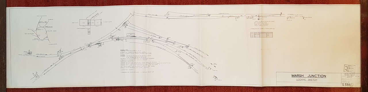 VT 2578.  B.R.  W.R. OFFICE COPY DIAGRAM LOCKING SKETCH MARSH JUNCTION.