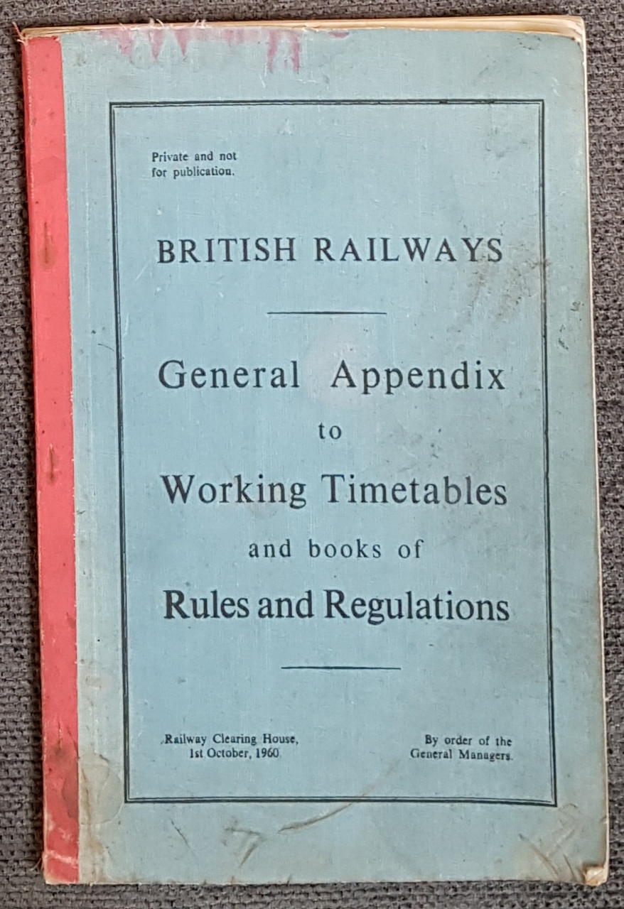 VT 2626. BRITISH RAILWAYS GENERAL APPENDIX DATED 1960.