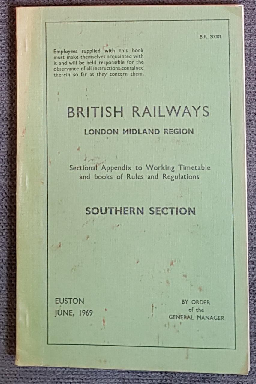 VT 3059. BRITISH RAILWAYS SECTIONAL APPENDIX SOUTHERN LINES  1969.