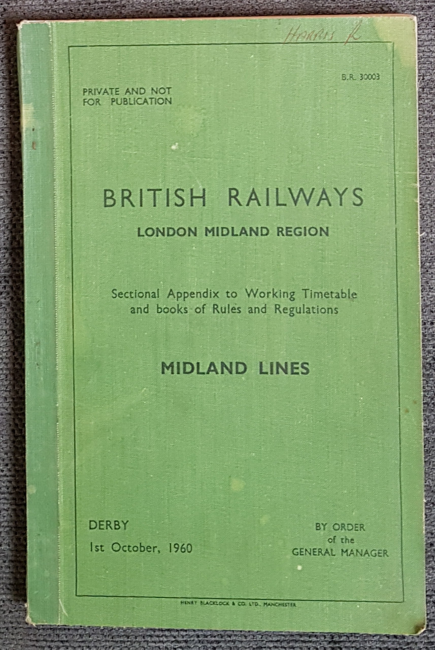 VT 3069. BRITISH RAILWAYS  SECTIONAL APPENDIX MIDLAND LINE 1960.