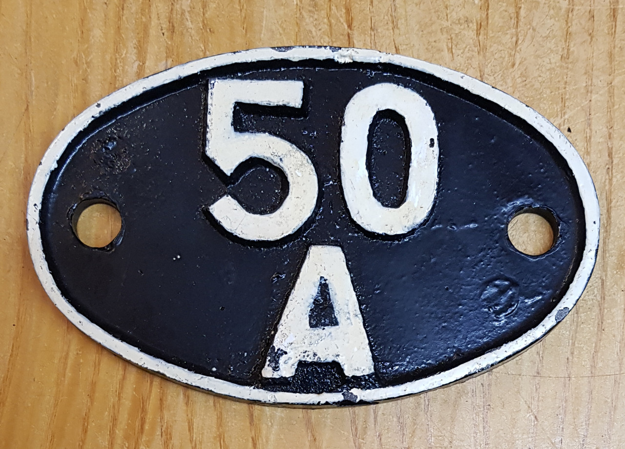 """VT 3140. CAST IRON SHED CODE PLATE  """"50 A"""" YORK"""