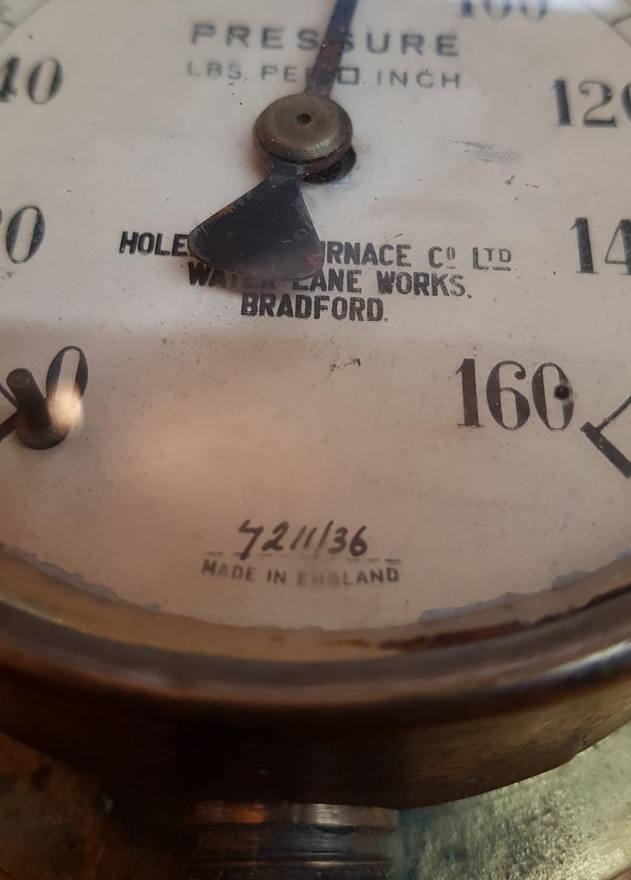 "VT 2220.  4"" DIAL BRASS PRESSURE GAUGE ""HOLEHOUSE FURNACE Co, BRADFORD."