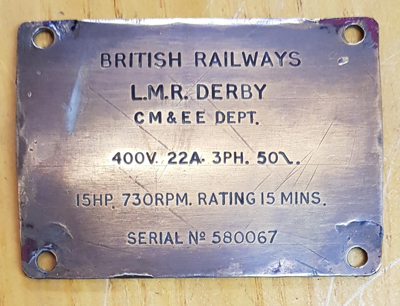 VT 2753. BRITISH RAILWAYS LM(R) DERBY MOTOR BRASS PLATE.