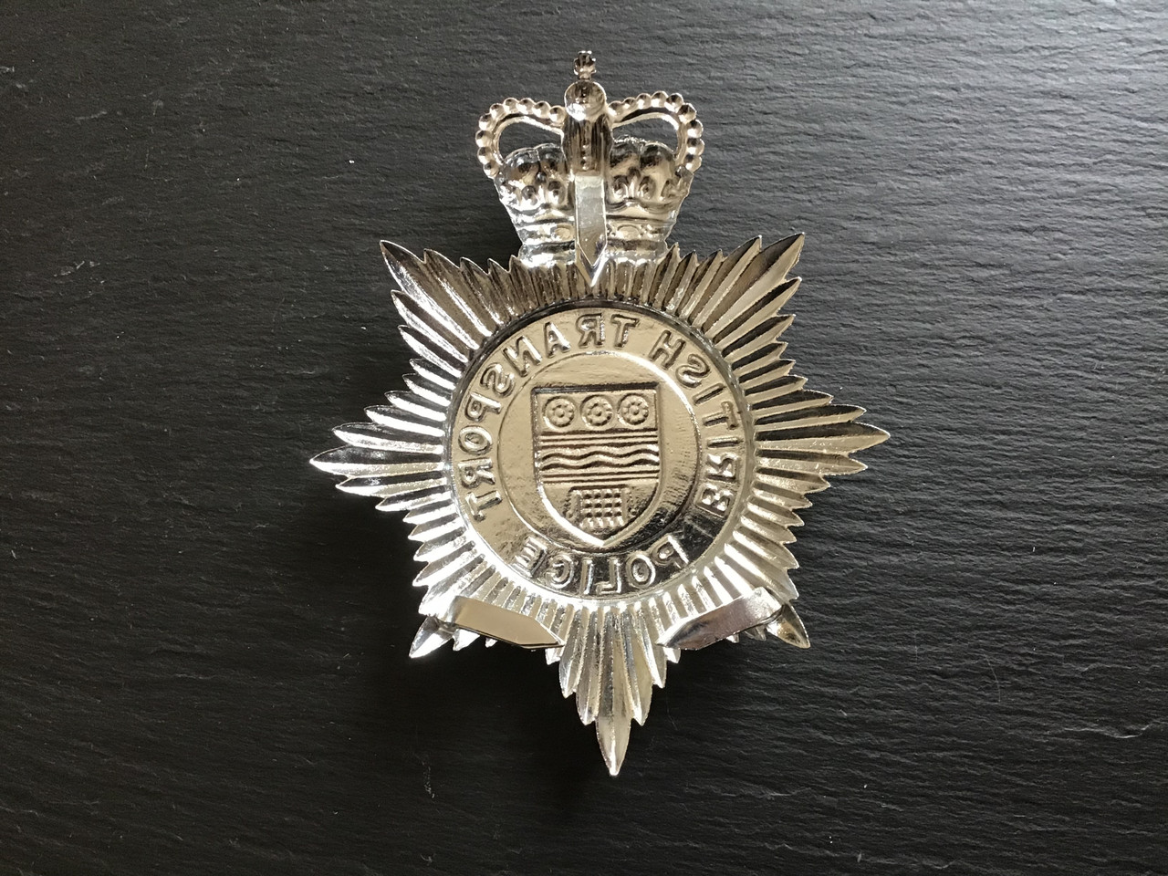 BRITISH TRANSPORT POLICE HELMET PLATE GD 977