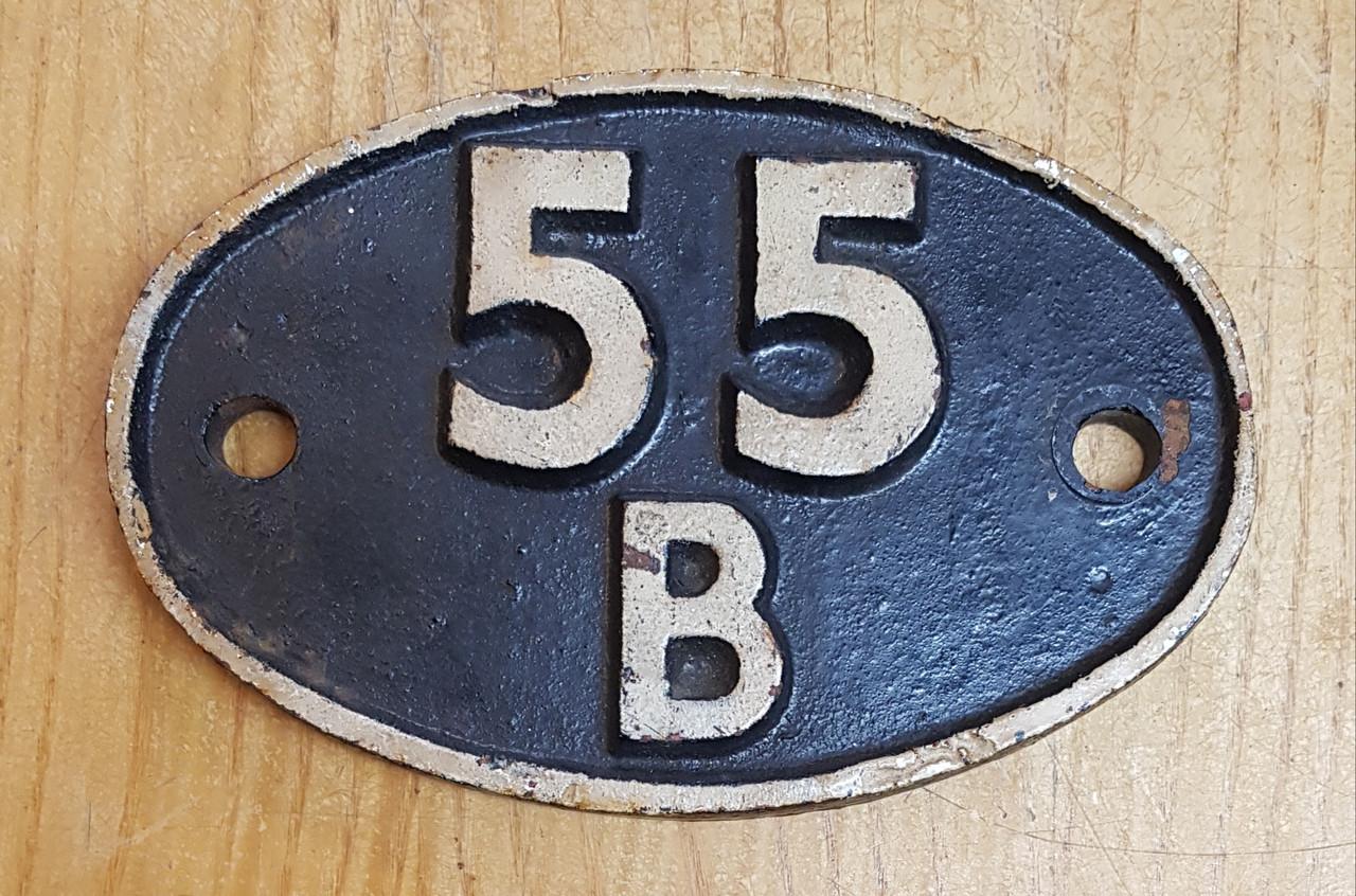 VT 3238. CAST IRON SHED CODE PLATE 55 B STOURTON.