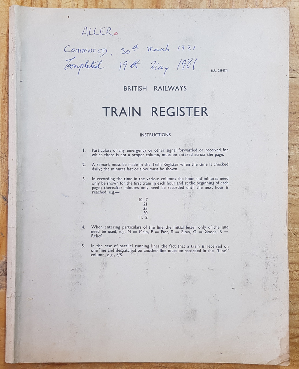 VT 3737 - SIGNAL BOX TRAIN REGISTER ALLER