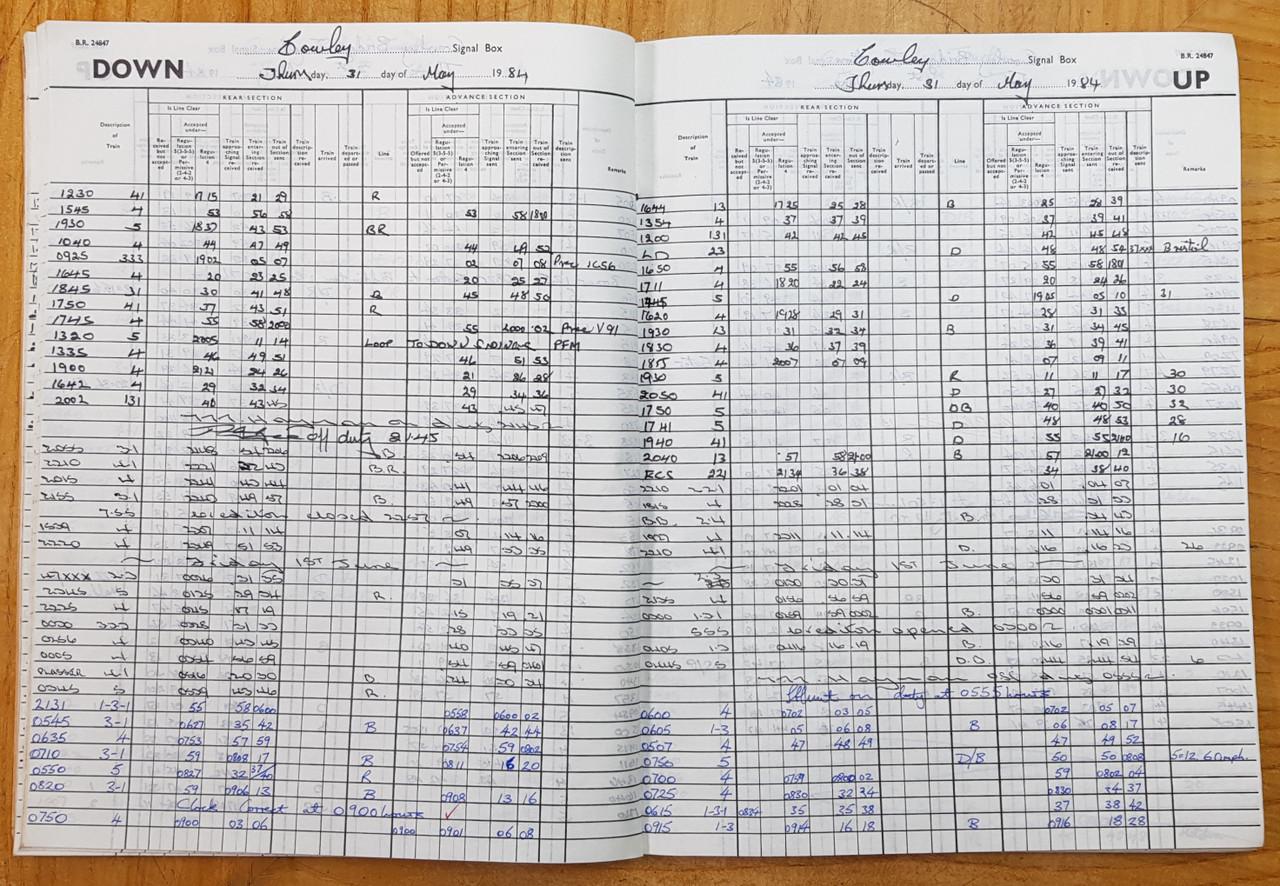 VT 3738 - SIGNAL BOX TRAIN REGISTER COWLEY BRDGE JUNCTION