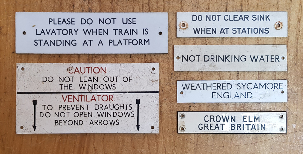 VT 3998. A COLLECTION OF LABELS FROM A  B.R. MK 1 CARRIAGE COMPARTMENT
