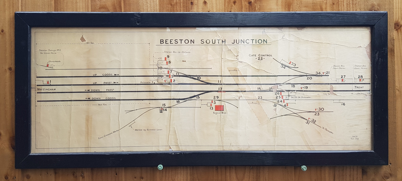 """VT 3657. L.M.S.RLY SIGNAL BOX DIAGRAM """"BEESTON SOUTH JUNCTION"""" DATED 1928."""