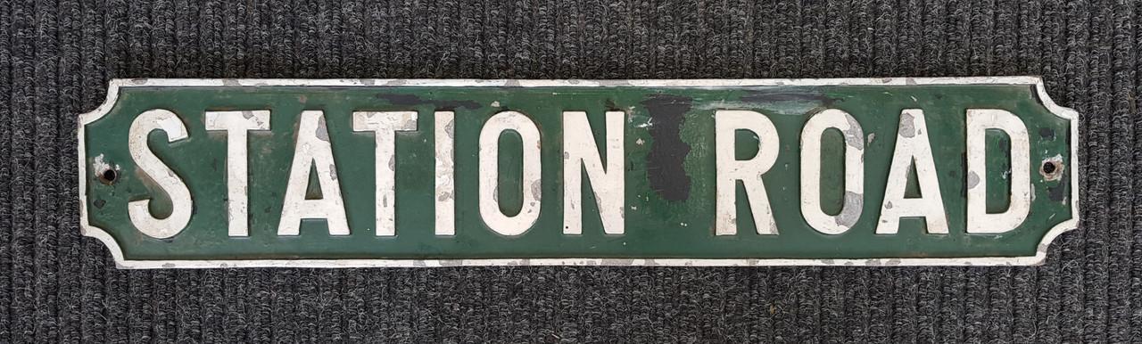 "VT 4144. CAST ALLOY ROAD SIGN ""STATION ROAD"""