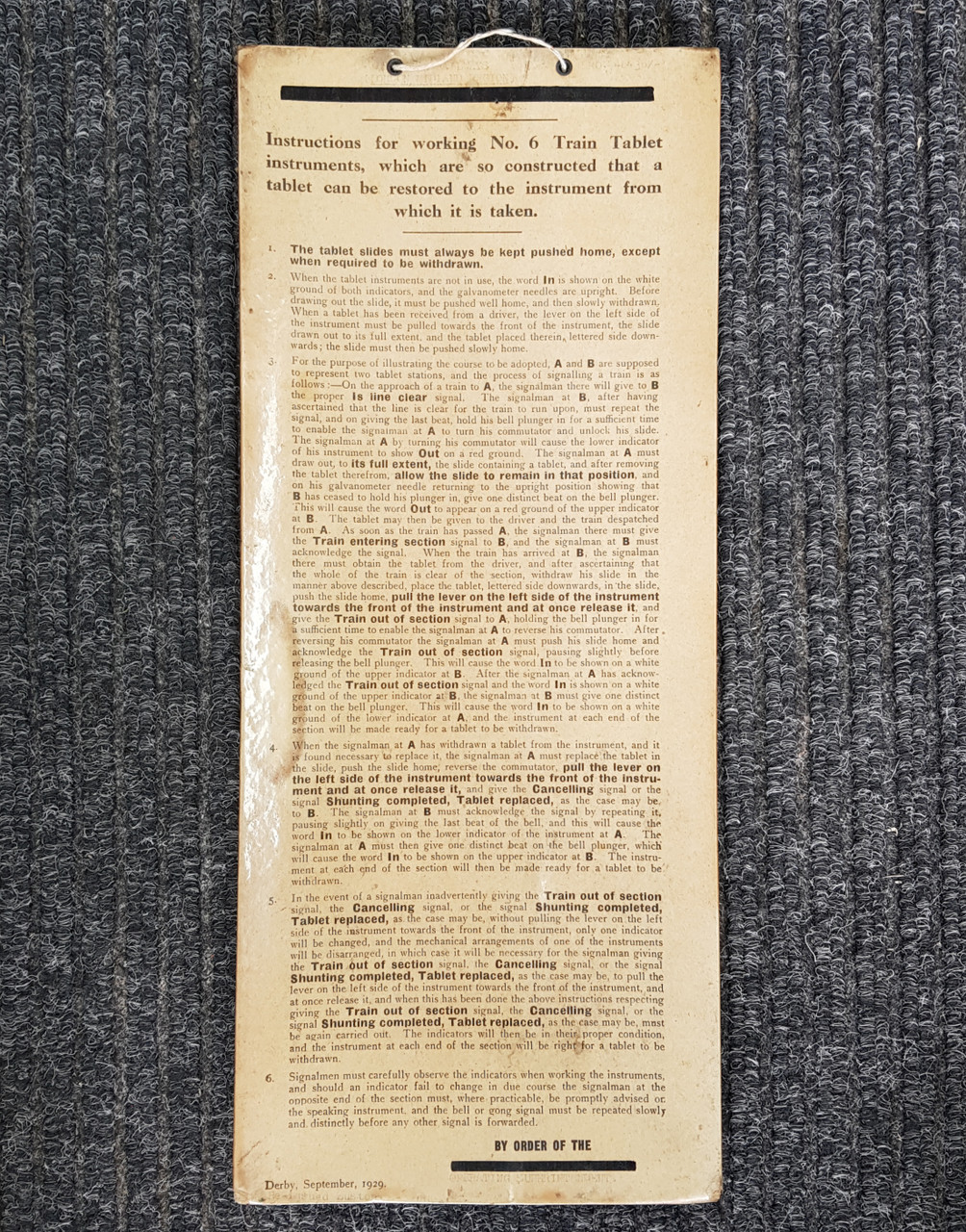 """VT 4145. """"INSTRUCTIONS FOR WORKING NO 6 TABLET INSTRUMENT"""" DATED 1929."""