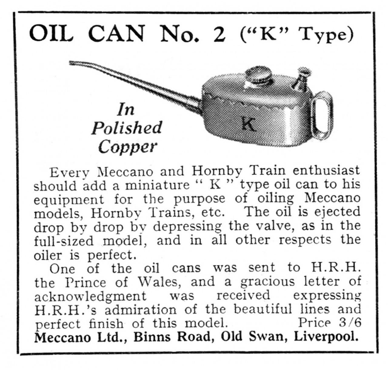 VT 4170. 1920s -30s COPPER MECCANO No 2 OIL CAN BY JOSEPH KAYE.