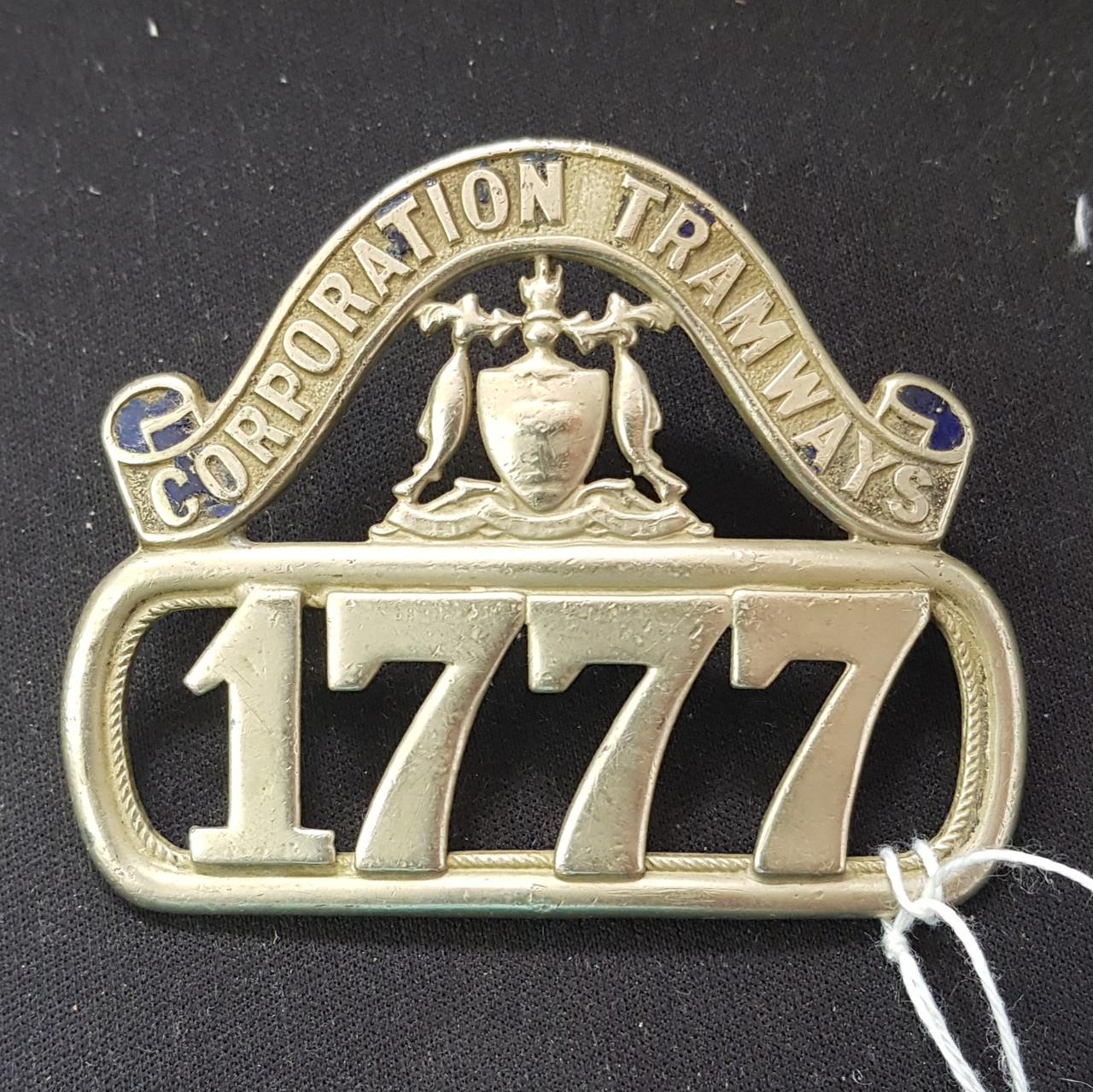 VT 3796A. GLASGOW CORPORATION TRAMWAYS CAP BADGE NO  1777.