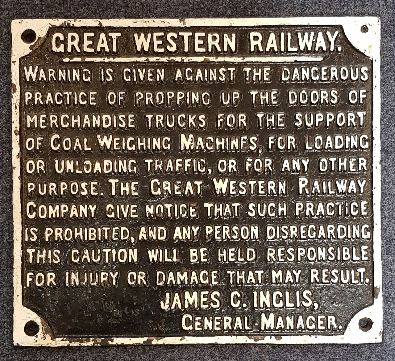"""VT 1856.  G.W.R. CAST IRON """"PROPPING UP DOORS """" NOTICE."""