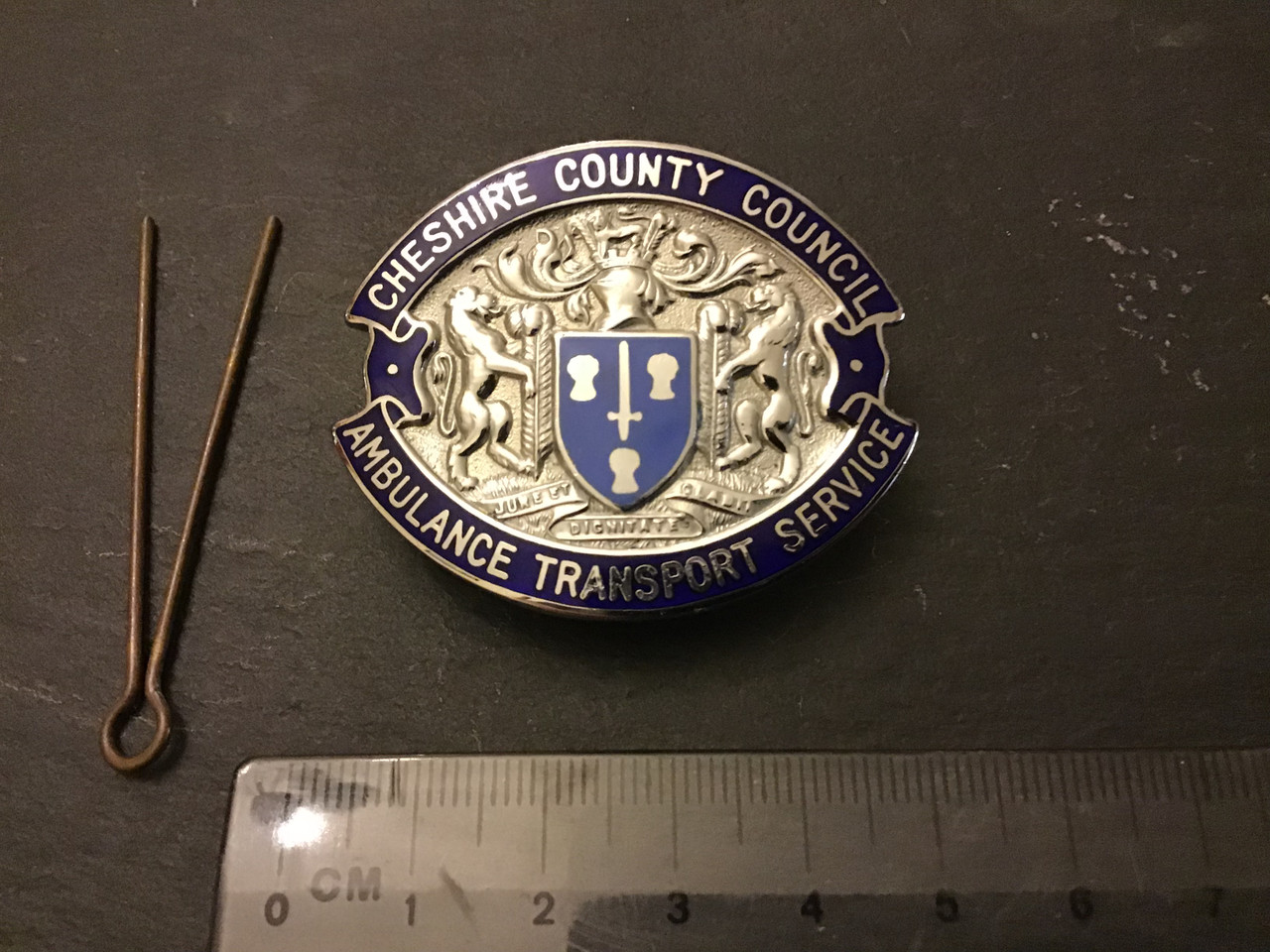 GD 551 Cheshire County Council Ambulance Transport Service Cap Badge