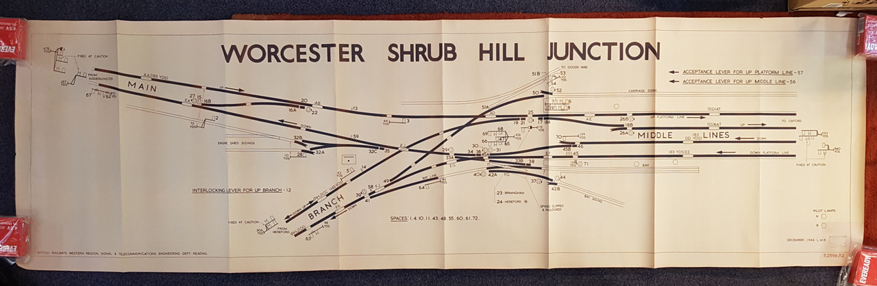 "VT 2557. B.R  W.R   OFFICE COPY DIAGRAM ""WORCESTER SHRUB HILL"""