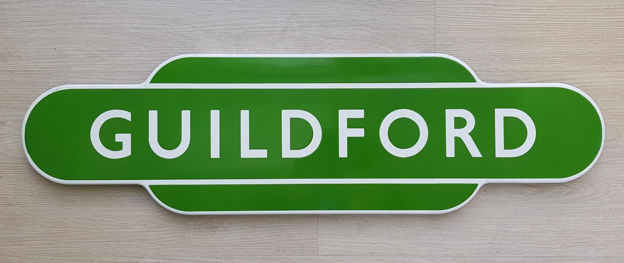 """VT 2898.  BR E  ENAMEL TOTEM SIGN """"GUILDFORD"""""""