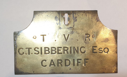 VT 1921 TAFF VALLEY RAILWAY 2 SIDED BRASS DOOR PLATE