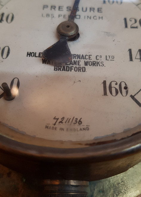"VT 2220.  4"" DIAL BRASS PRESSURE GAUGE ""HOLEHOUSE FURNACE Co, BRADFORD."
