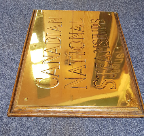 CANADIAN NATIONAL STEAMSHIP BRASS PLAQUE. STOCK CODE GD 588