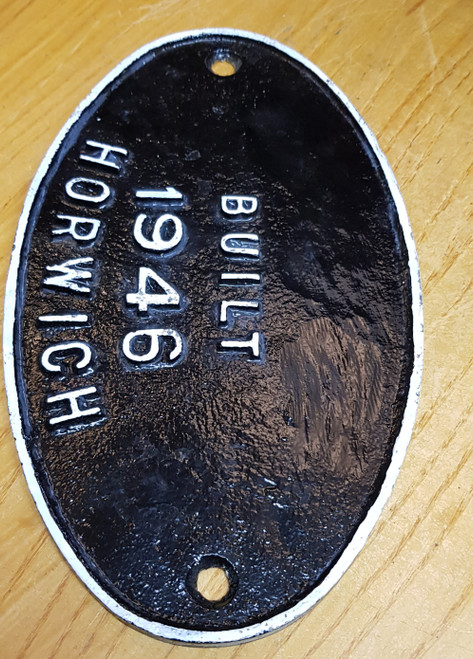 VT 2519. L.M.S. MAKERS PLATE FROM  4-6-0 BLACK 5 LOCOMOTIVE.