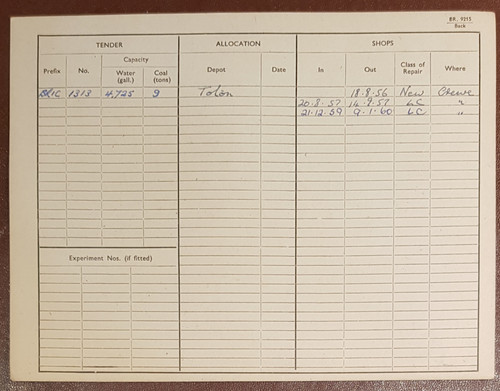 VT 2140. ENGINE RECORD CARD FOR 9F 2-10-0 LOCOMOTIVE 92103.