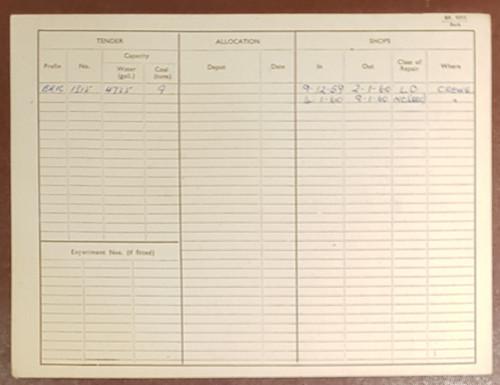 VT 2143. ENGINE RECORD CARD FOR 9F 2-10-0 LOCOMOTIVE 92105.