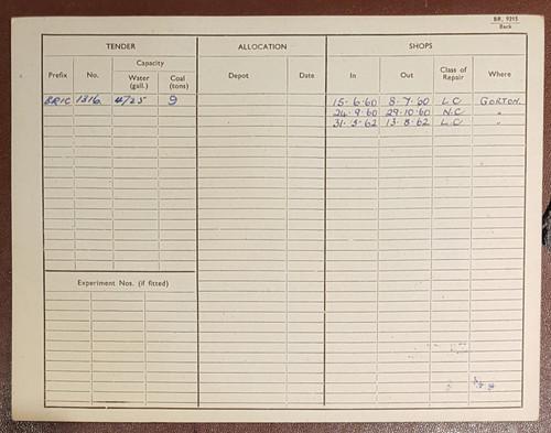 VT 2144. ENGINE RECORD CARD FOR 9F 2-10-0 LOCOMOTIVE 92106..