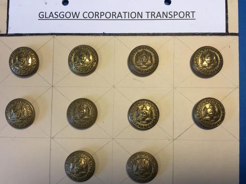 GD 718 GLASGOW CORPORATION TRANSPORT UNIFORM BUTTONS.