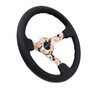 "NRG Steering Wheel 350mm Black Leather Hydro Dipped Digital Floral 3"" Deep Dish"