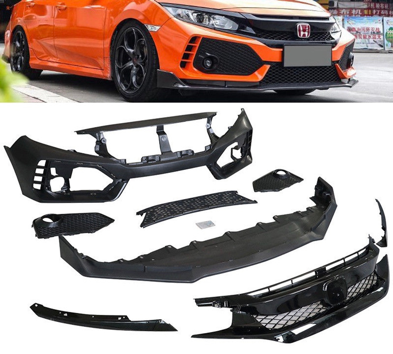 16 18 honda civic type r style front bumper with grill so cal16 18 honda civic type r style front bumper with grill