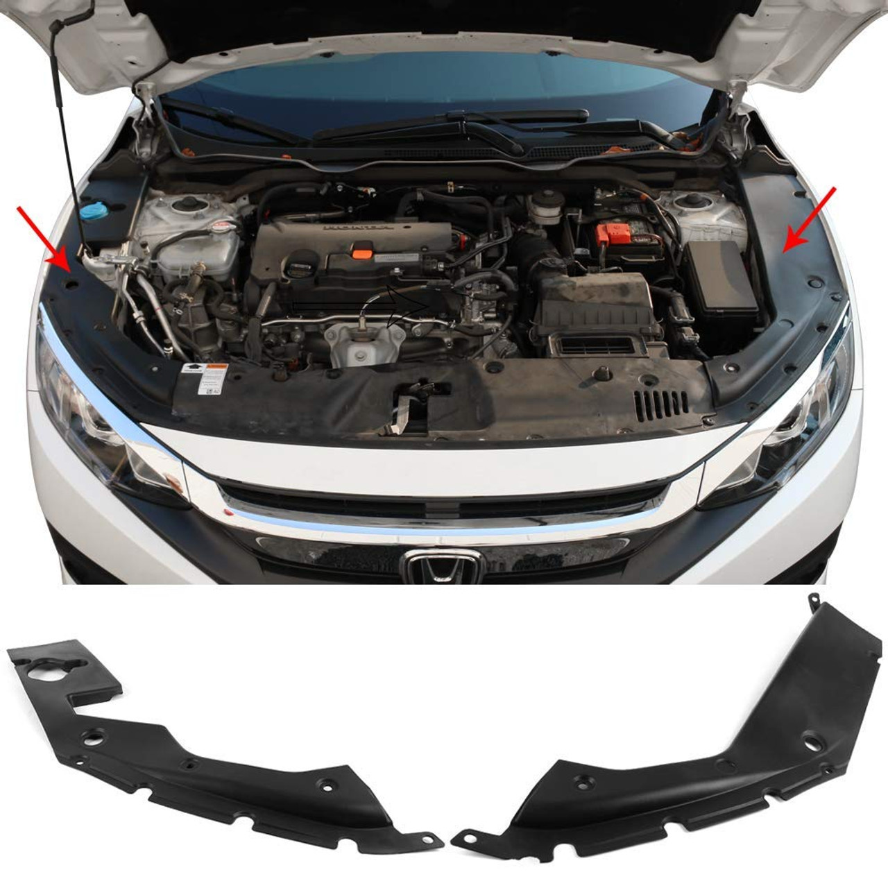 Engine Bay Side Panel Covers Fits 2016-2018 Honda Civic | Unpainted ABS Long Version X Gen 10 Generation Left and Right Pair