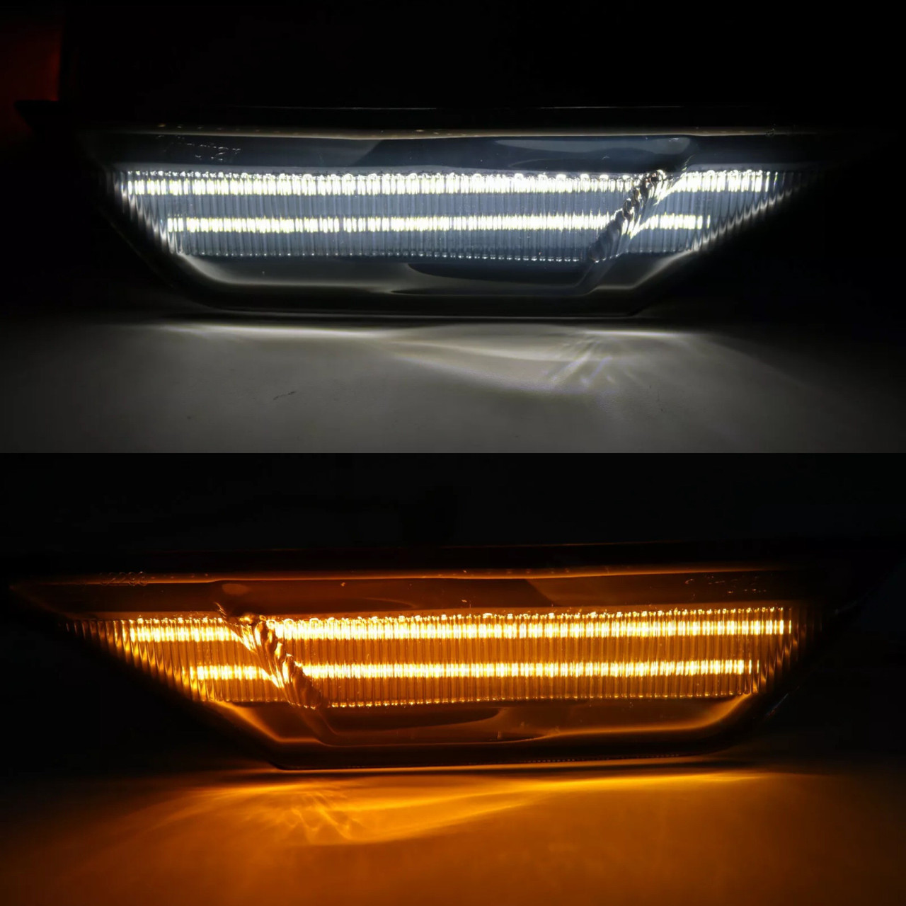 16-19 Honda Civic Clear Front Sidemarkers Side Marker Light White/ Amber LED
