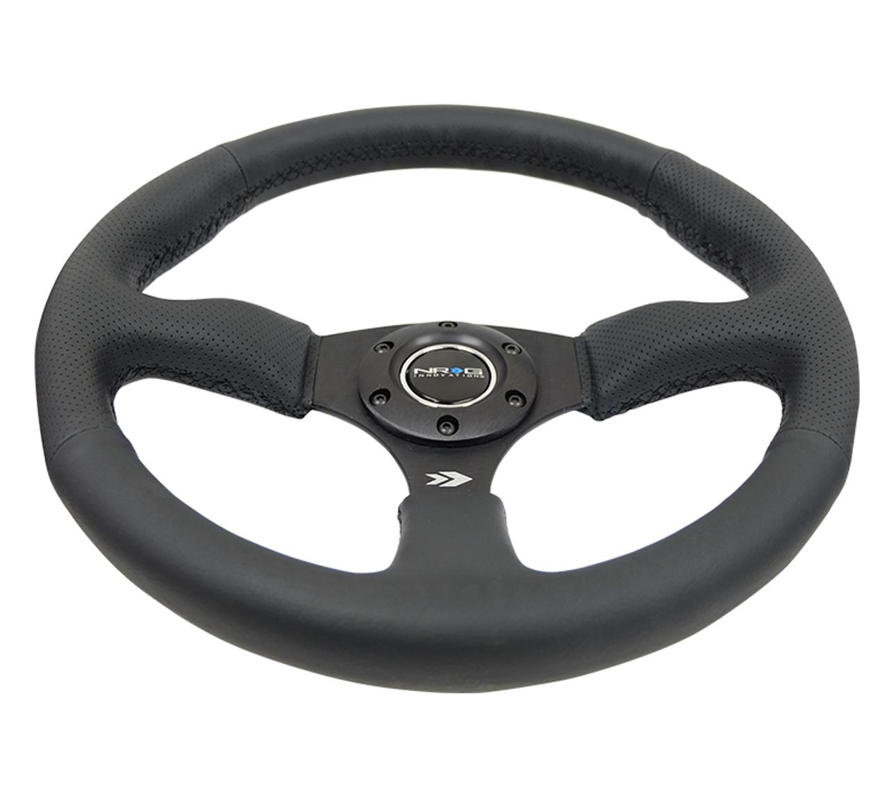 RST-023MB-R NRG Steering Wheel Real Black Leather Black Stitch 350mm Deep Dish