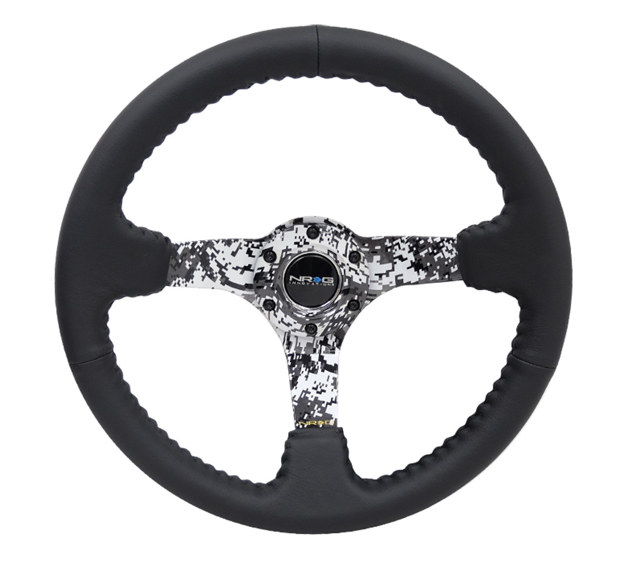 NRG Deep Dish Steering Wheel Black Leather Digital Army Camo Center